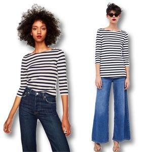 Zara 100% Cotton 3/4 Sleeve Cotton Striped T-Shirt